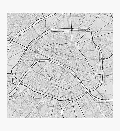 Paris, France Map. (Black on white) Photographic Print