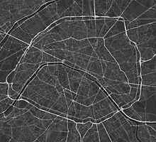 Paris, France Map. (White on black) by Graphical-Maps