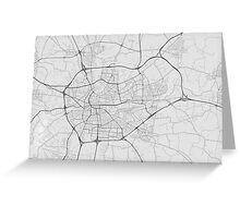 Rennes, France Map. (Black on white) Greeting Card