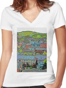 Montreal Suburb (vertical) Women's Fitted V-Neck T-Shirt