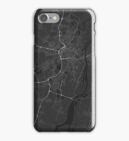Strasbourg, France Map. (White on black) iPhone Case/Skin