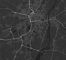 Strasbourg, France Map. (White on black) by Graphical-Maps