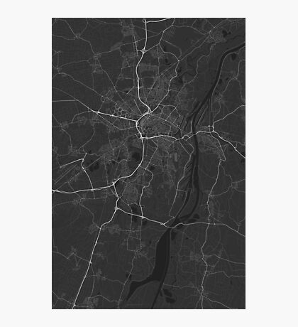 Strasbourg, France Map. (White on black) Photographic Print