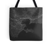 Toulon, France Map. (White on black) Tote Bag