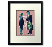 """Johnlock """"ALONE IS WHAT I HAVE"""" white letters Framed Print"""