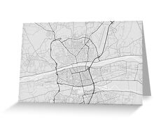 Tours, France Map. (Black on white) Greeting Card