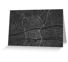 Tours, France Map. (White on black) Greeting Card