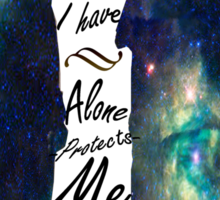 """Johnlock """"ALONE IS WHAT I HAVE"""" white letters Sticker"""