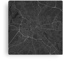 Berlin, Germany Map. (White on black) Canvas Print