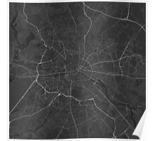 Berlin, Germany Map. (White on black) Poster