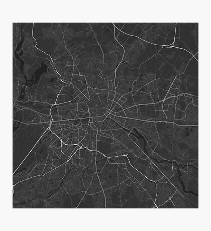 Berlin, Germany Map. (White on black) Photographic Print