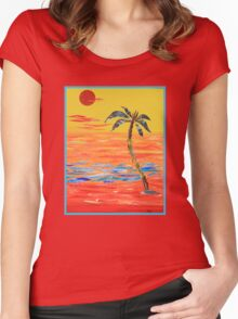 Tropical Collage in Red Women's Fitted Scoop T-Shirt