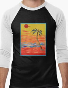 Tropical Collage in Red Men's Baseball ¾ T-Shirt