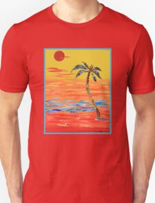 Tropical Collage in Red Unisex T-Shirt