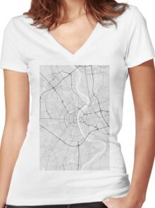Cologne, Germany Map. (Black on white) Women's Fitted V-Neck T-Shirt