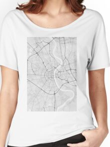 Cologne, Germany Map. (Black on white) Women's Relaxed Fit T-Shirt