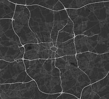 Dortmund, Germany Map. (White on black) by Graphical-Maps