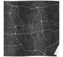 Dortmund, Germany Map. (White on black) Poster