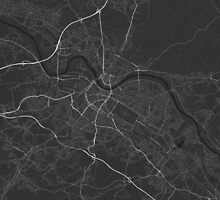 Dresden, Germany Map. (White on black) by Graphical-Maps