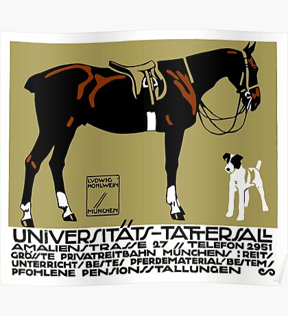 1912 Ludwig Hohlwein Horse Riding Poster Art  Poster