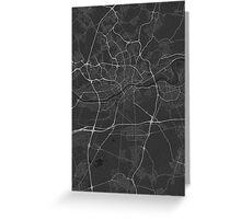 Frankfurt, Germany Map. (White on black) Greeting Card