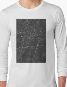 Frankfurt, Germany Map. (White on black) Long Sleeve T-Shirt