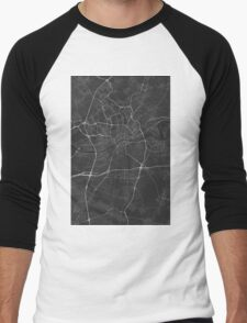 Frankfurt, Germany Map. (White on black) Men's Baseball ¾ T-Shirt