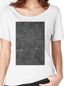 Frankfurt, Germany Map. (White on black) Women's Relaxed Fit T-Shirt