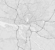 Hamburg, Germany Map. (Black on white) by Graphical-Maps