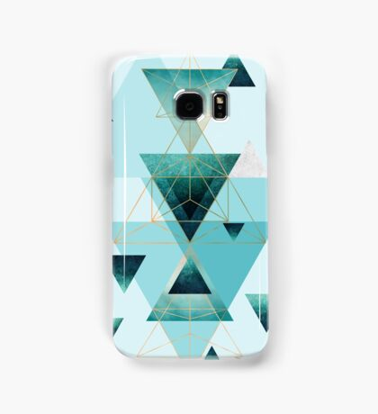 Geometric Triangle Compilation in teal, aqua and rose gold Samsung Galaxy Case/Skin