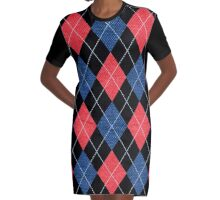 ARGYLE RED AND BLUE Graphic T-Shirt Dress