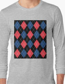 ARGYLE RED AND BLUE Long Sleeve T-Shirt