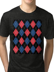 ARGYLE RED AND BLUE Tri-blend T-Shirt