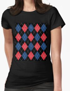 ARGYLE RED AND BLUE Womens Fitted T-Shirt