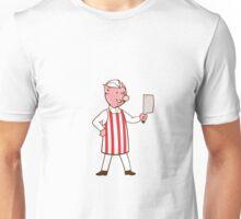 Butcher Pig Holding Meat Cleaver Cartoon Unisex T-Shirt
