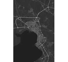 Thessaloniki, Greece Map. (White on black) Photographic Print
