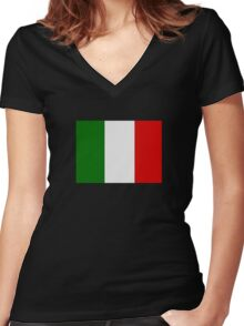 Italian Flag Women's Fitted V-Neck T-Shirt
