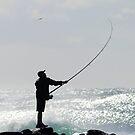 fishing     off   the   rocks by Trish Threlfall