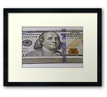 Stack of one hundred dollar bills macro shot Framed Print