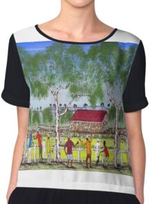 """Day at the Cricket""    SOLD Original Acrylic Painting EJCairns  Chiffon Top"