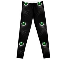 Black Cat with Green Eyes Leggings