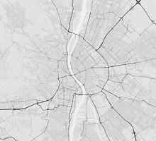 Budapest, Hungary Map. (Black on white) by Graphical-Maps