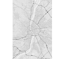 Budapest, Hungary Map. (Black on white) Photographic Print