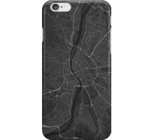 Budapest, Hungary Map. (White on black) iPhone Case/Skin