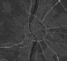 Budapest, Hungary Map. (White on black) by Graphical-Maps