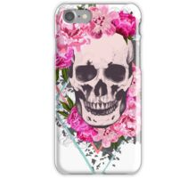 Sour luck - pink flower with skull head iPhone Case/Skin