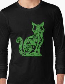 Fluorescent green biofilm cat Long Sleeve T-Shirt