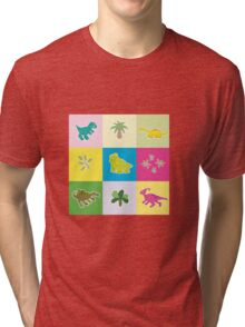 Dinosaurs in colored rectangles Tri-blend T-Shirt