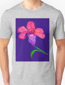 Iris original drawing on blue pattern background T-Shirt