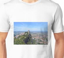 Tower from San Marino and landscape of hills and city. Unisex T-Shirt